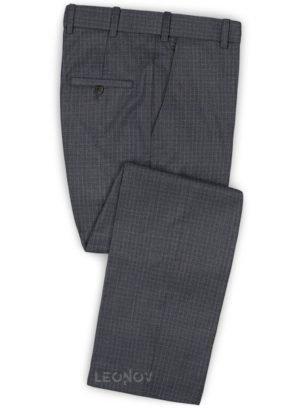 Серые брюки в мелкую синюю клетку из шерсти – Reda