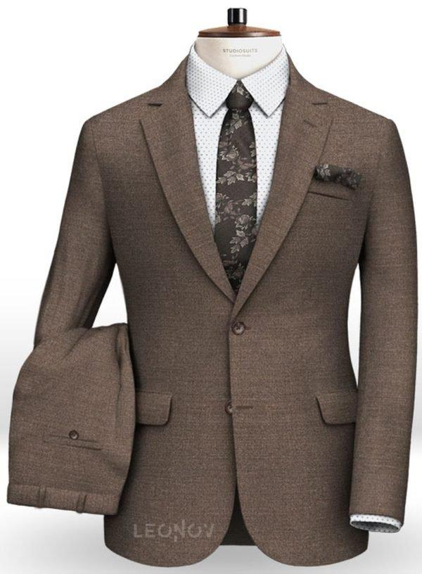 Коричневый костюм из камвольной шерсти