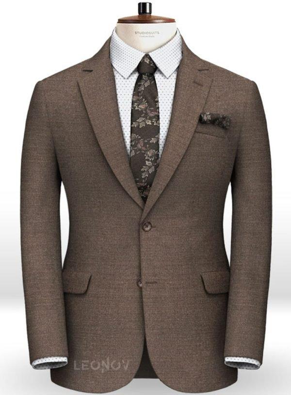 Коричневый пиджак из камвольной шерсти – Reda