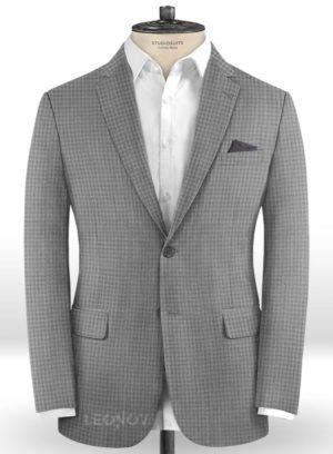 Серый деловой пиджак в мелкую клетку из шерсти – Reda