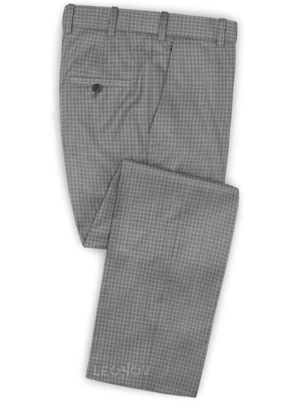 Серые деловые брюки в мелкую клетку из шерсти – Reda