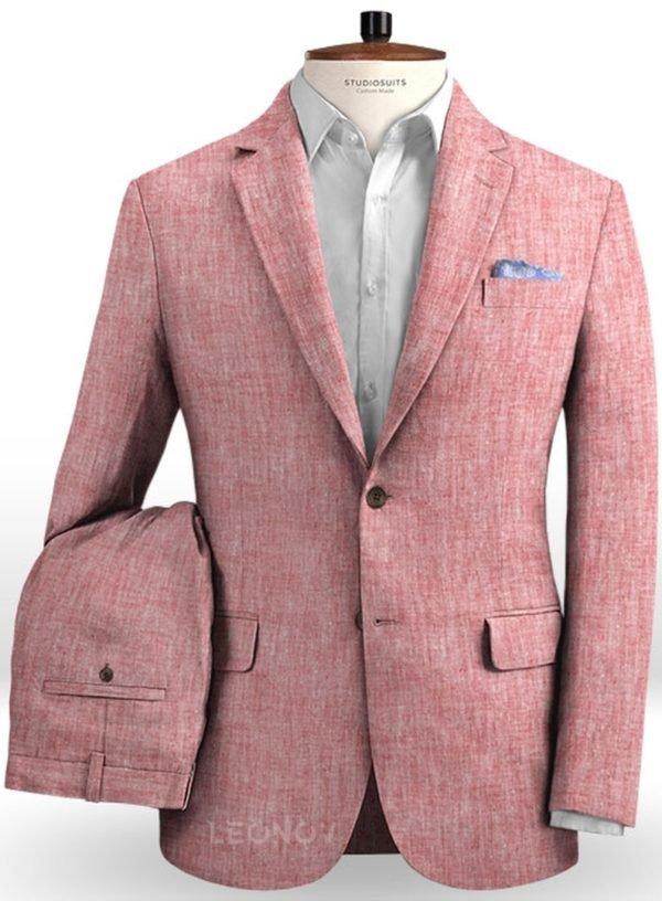 Летний розовый костюм из льна
