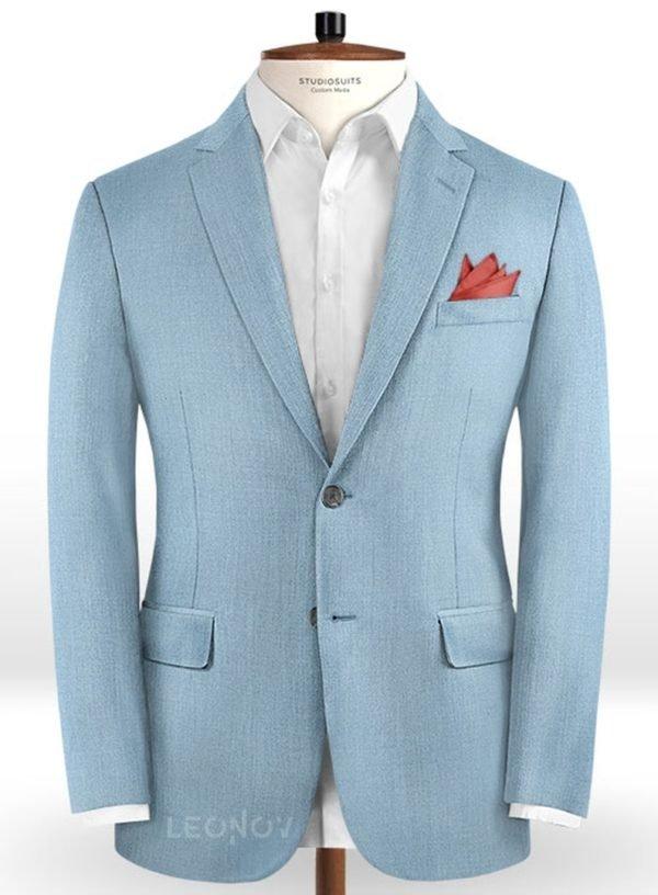 Пиджак античный синий из шерсти