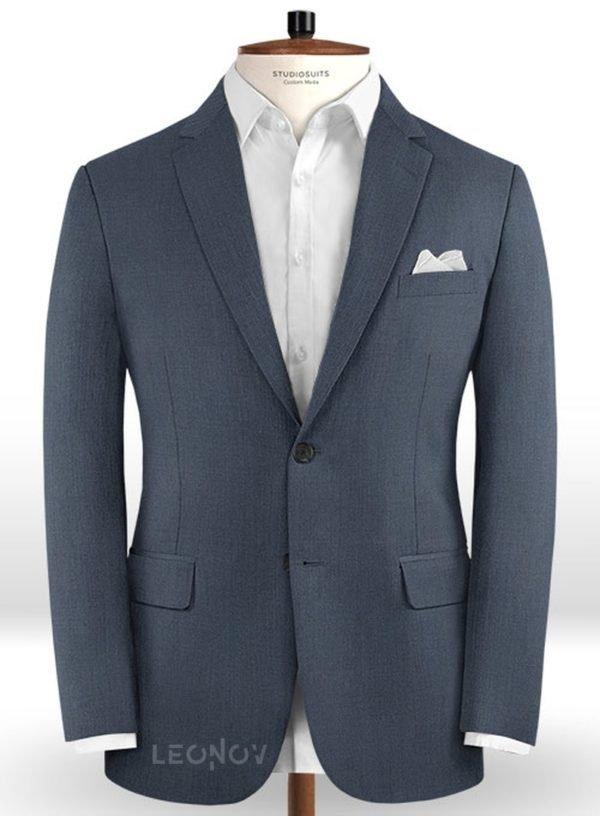 Синий твидовый пиджак из шерсти