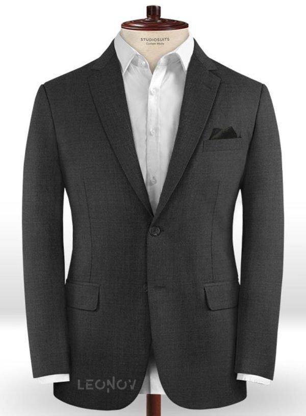 Пиджак из шерсти угольный черный – Scabal