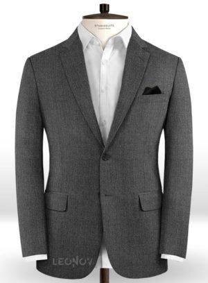 Угольно-серый твидовый пиджак из шерсти