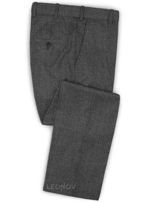Угольно-серые твидовые брюки из шерсти
