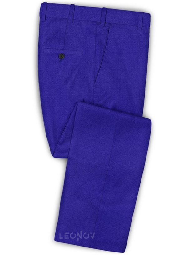 Ярко-синие мужские брюки из шерсти – Scabal
