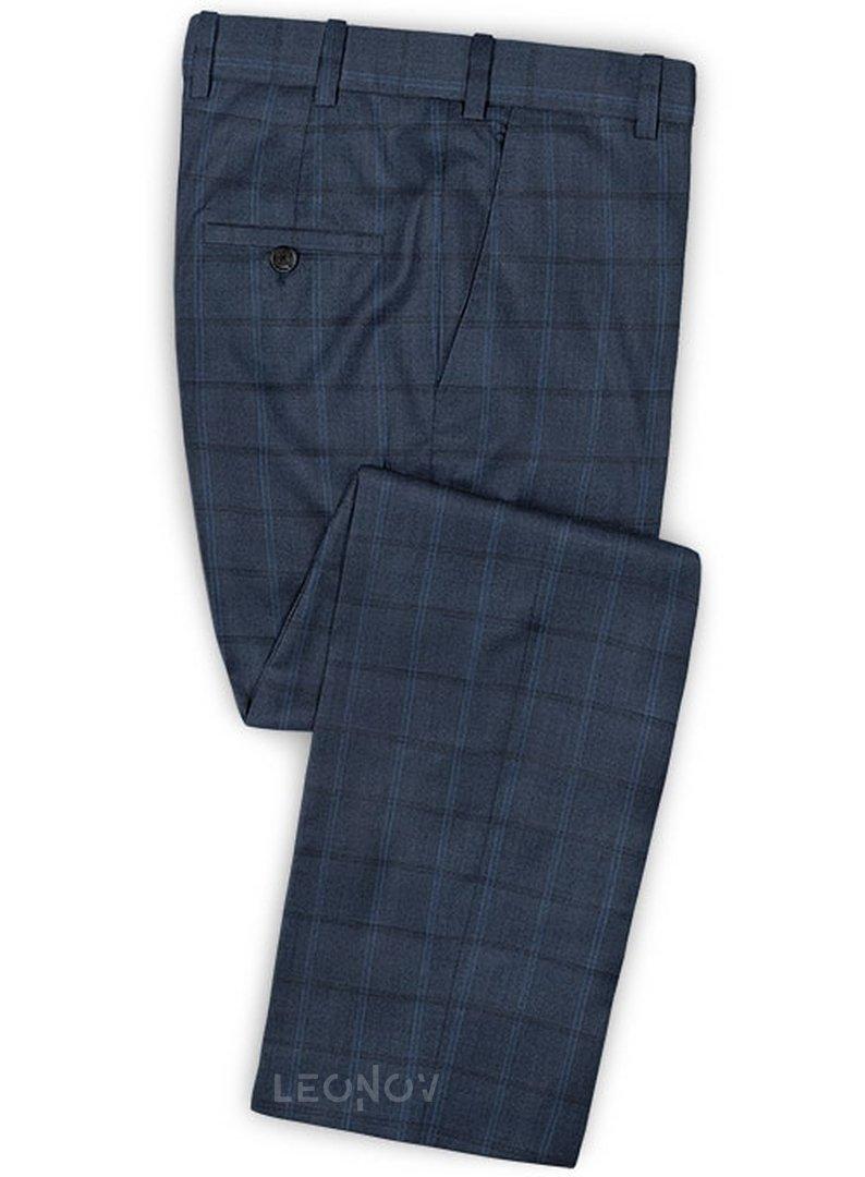 Темно-синий костюм в клетку из шелка и шерсти – Scabal в ...  Темно Синий Костюм Рубашка