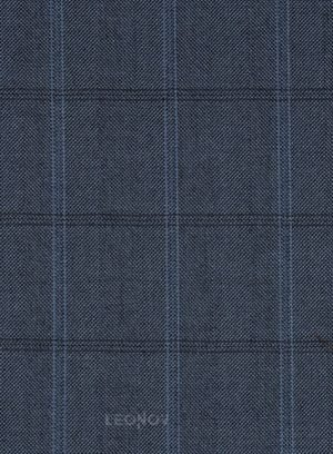 Темно-синий костюм в клетку из шелка и шерсти