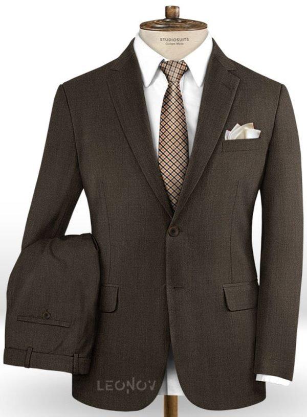 Темно-коричневый костюм из шерсти