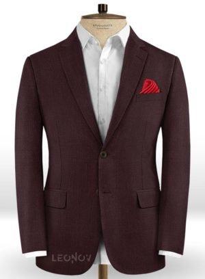 Пиджак темного винного цвета из шерсти – Scabal