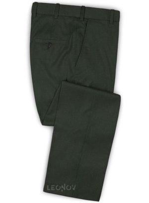 Темно-зеленые брюки из шерсти
