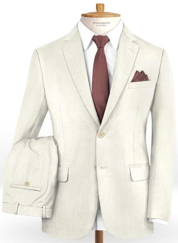 Белый свадебный костюм из шерсти
