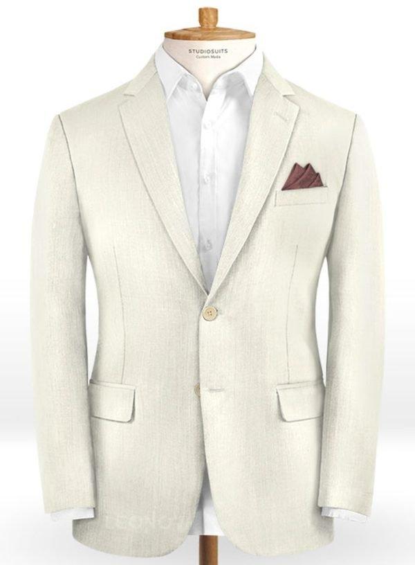 Белый свадебный пиджак из шерсти – Scabal
