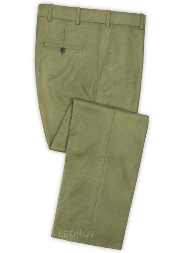 Светло-зеленые брюки из шерсти