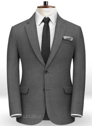 Серый твидовый пиджак из чистой шерсти