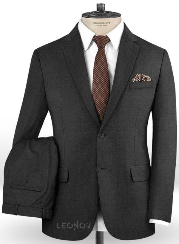 Свинцово-серый костюм из шерсти