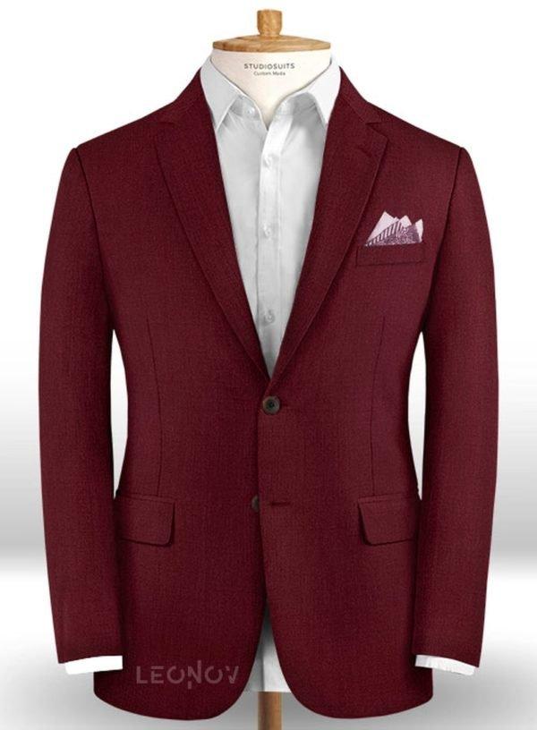 Темно-бордовый пиджак из шерсти – Scabal