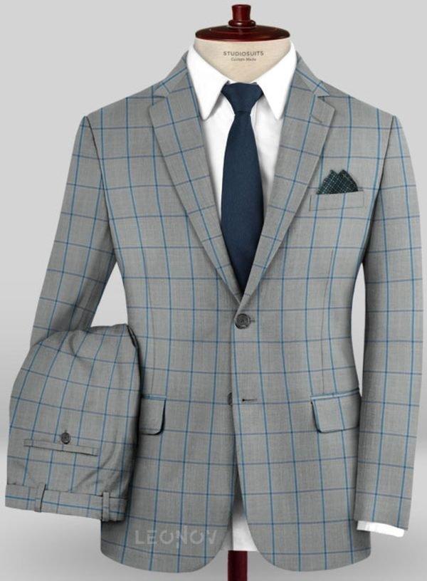 Серый костюм в ярко синюю крупную клетку из шерсти