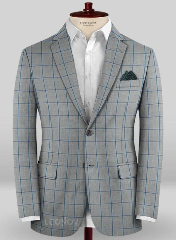 Серый пиджак в ярко синюю крупную клетку из шерсти – Scabal