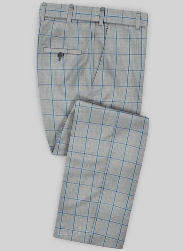 Серые брюки в ярко синюю крупную клетку из шерсти – Scabal