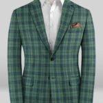 Зеленый пиджак в синюю клетку из шерсти – Scabal