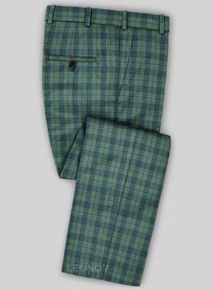 Зеленые брюки в синюю клетку из шерсти – Scabal