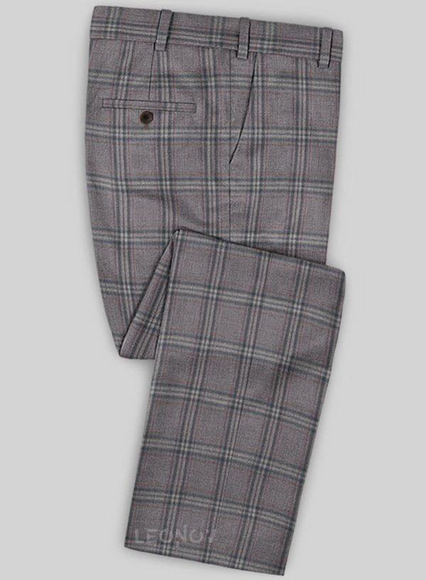 Коричневые брюки в клетку из шерсти – Scabal