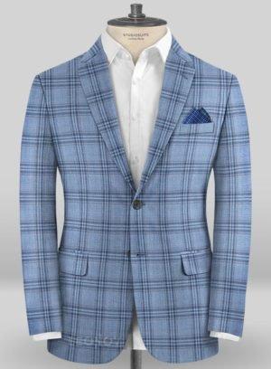 Пиджак голубой в темно-синюю клетку из шерсти – Scabal