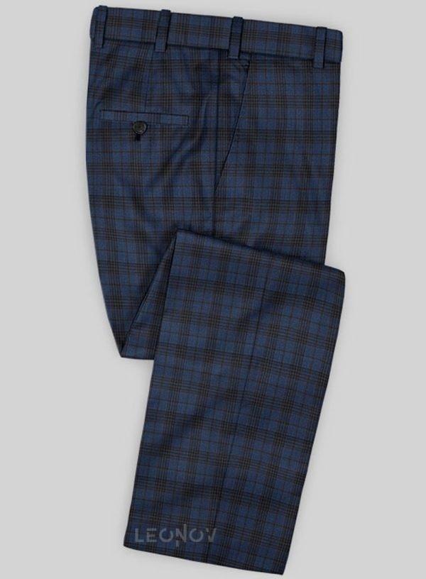 Темно-синие деловые брюки в клетку из шерсти – Scabal