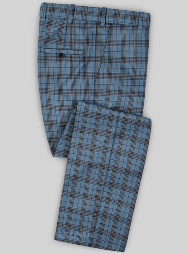 Светло-синие брюки в темную клетку из шерсти – Scabal