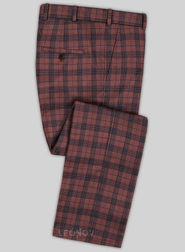 Красные брюки в темно-синюю клетку из шерсти – Scabal