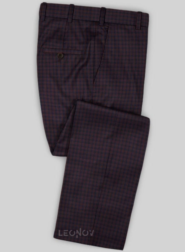 Темно-бордовые брюки в клетку из шерсти – Scabal