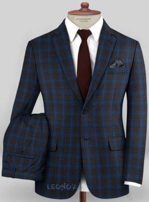 Синий костюм в коричневую клетку из шерсти