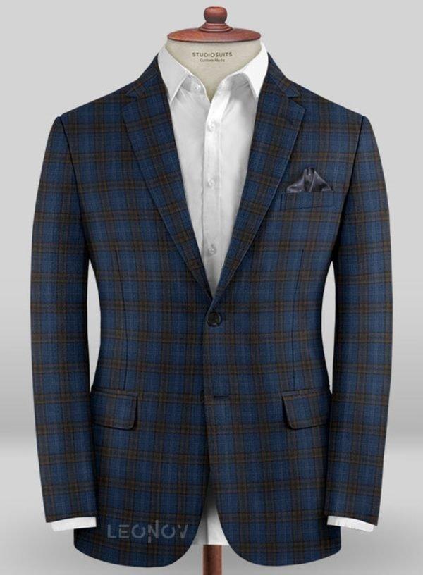 Синий пиджак в коричневую клетку из шерсти – Scabal