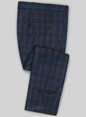 Синие брюки в коричневую клетку из шерсти – Scabal