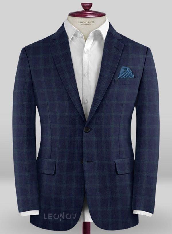Пиджак темно-синий в клетку из шерсти синий – Scabal