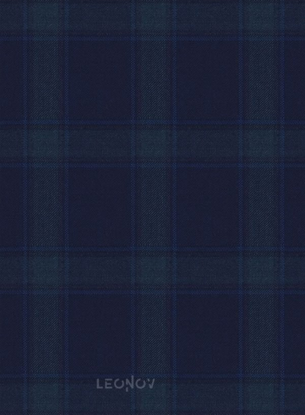 Костюм темно-синий в клетку из шерсти синий