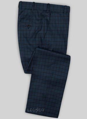 Темно-синие брюки в клетку из шерсти синие – Scabal