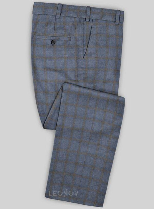 Серые брюки в клетку из шерсти – Scabal