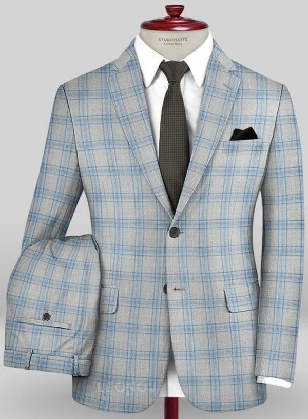 Серый костюм в голубую клетку из шерсти