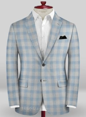 Серый пиджак в голубую клетку из шерсти – Scabal