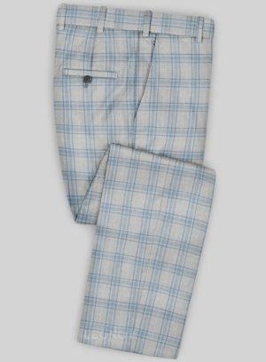 Серые брюки в голубую клетку из шерсти – Scabal