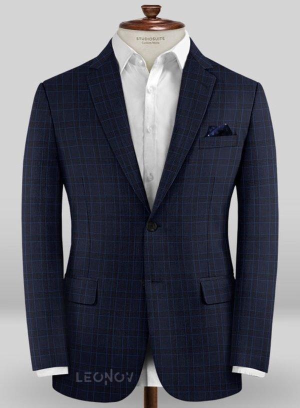 Пиджак темно-синего цвета в голубую клетку из шерсти – Scabal