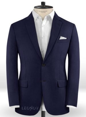 Офисный темно-синий пиджак из шерсти
