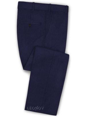Офисные темно-синие брюки из шерсти
