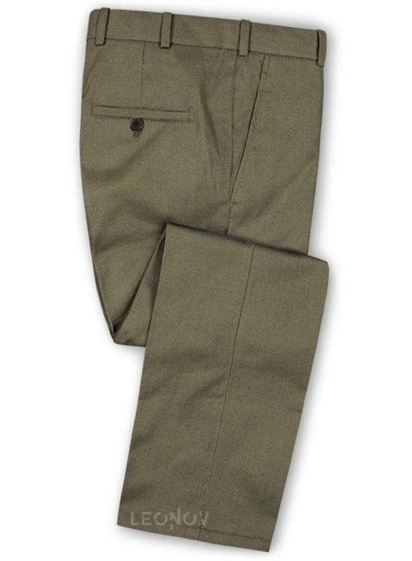 Оливковые брюки из шерсти – Scabal