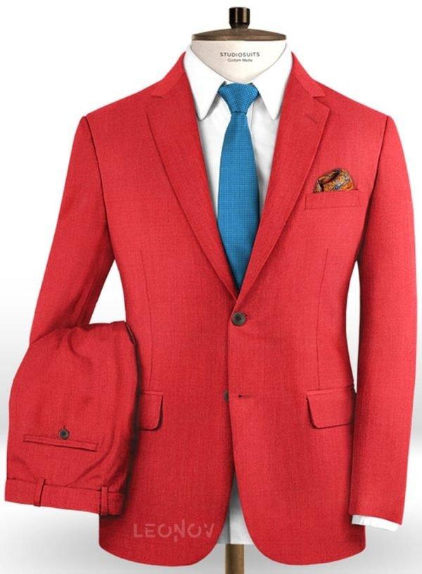Ярко красный (алый) костюм из шерсти