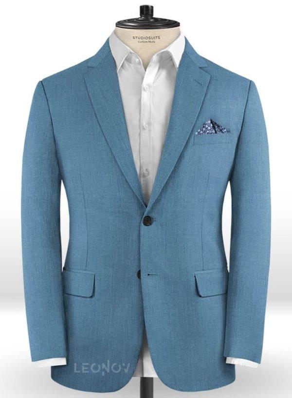 Пиджак из шерсти стальной синий